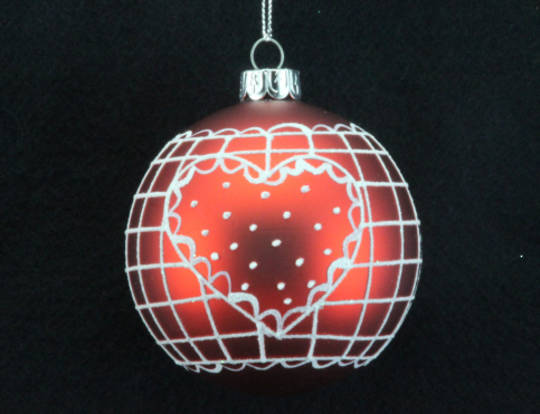 Hanging Glass Ball Matt Red w/White Lined Check and Heart 8cm