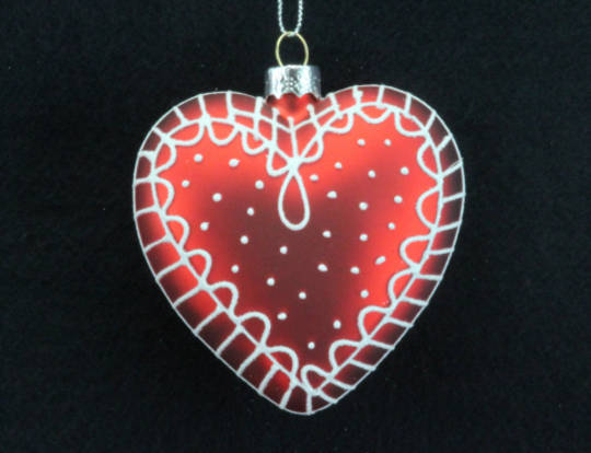 Glass Heart Matt Red with White Scandinavian Pattern 8cm