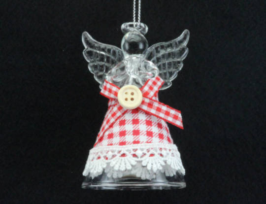 Glass Hanging Angel w/Gingham Dress 10cm