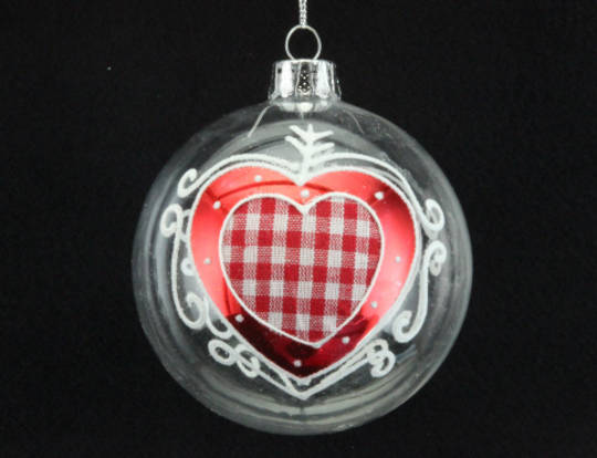 Glass Ball Clear with Gingham Heart 8cm