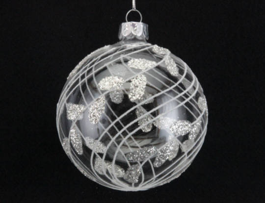 Glass Ball Clear with White Sway Vertical Lines and Glitter Leaves 8cm