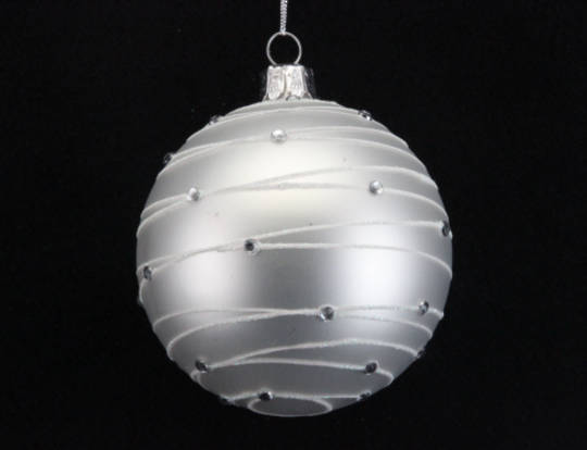 Glass Ball Matt White with Diamante Astral Bands