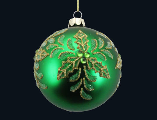 Glass Ball Matt Green with Gold Holly 8cm