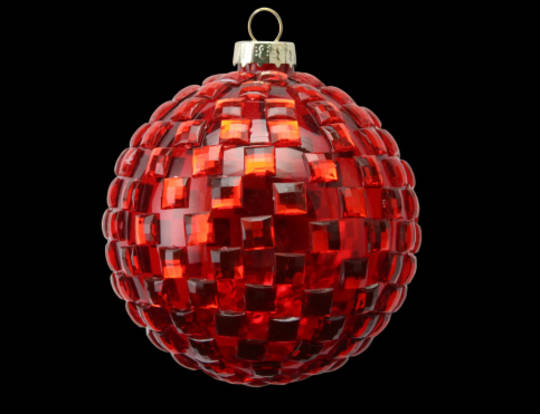 Glass Ball  Red with Diamantes 8cm