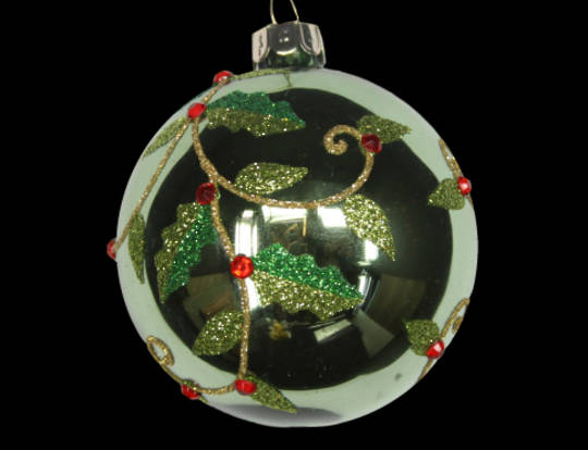 Glass Ball Shiny Olive Green with Holly 8cm