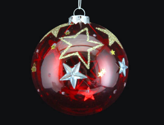 Glass Ball Translucent Red with Stars