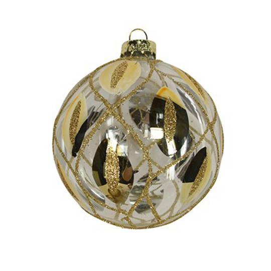 Glass Ball Clear with Gold Trellis and Feathers