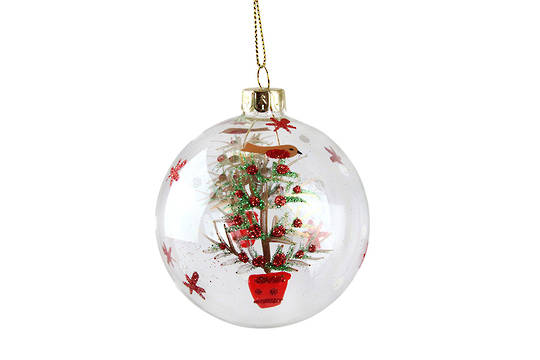 Hanging Glass Ball Clear, Robin in Xmas Tree