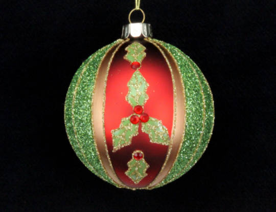 Glass Ball with Red Gold & Green Stripe with Holly
