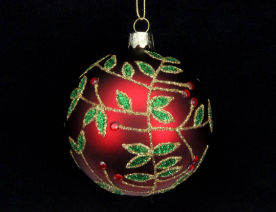Glass Ball Matt Red with Green Glitter Leaves