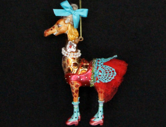 Hanging Glass Painted Giraffe with Dress
