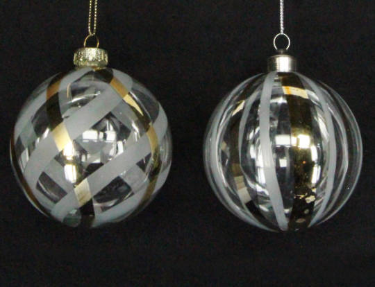 Glass Ball Clear/Opaque with Gold Trellis or Stripe