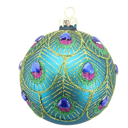 Glass Ball with Peacock Feather Pattern and Gems 8cm