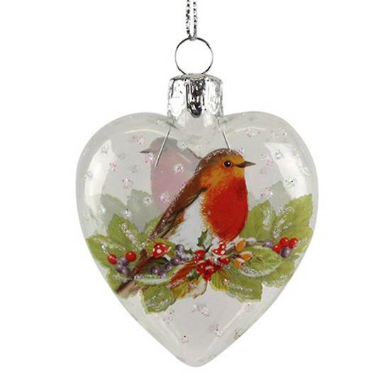 Hanging Glass Heart w/Robin