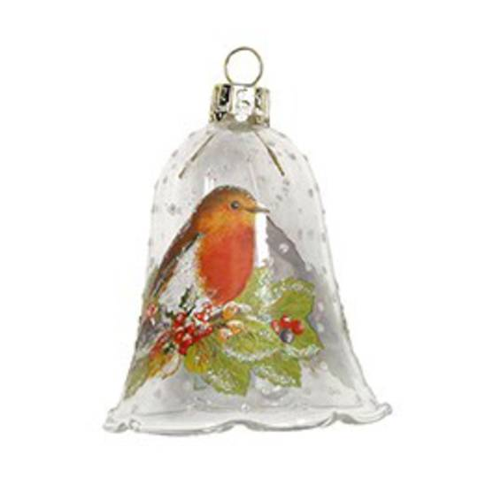 Hanging Glass Bell w/Robin