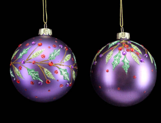 Glass Ball Matt Purple with Red Diamantes and Holly