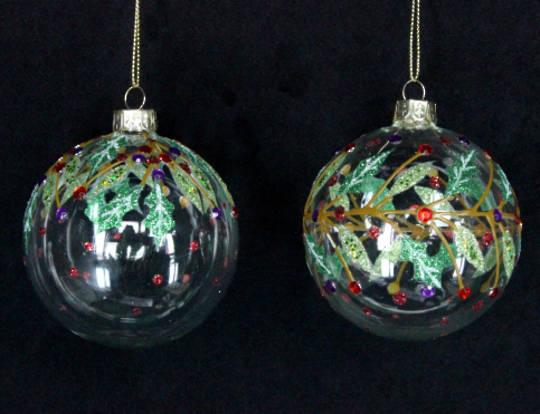 Glass Ball Clear with Diamante and Holly