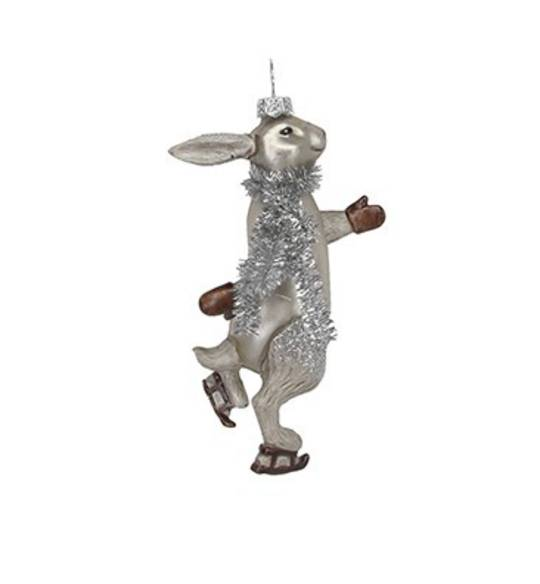 Glass Painted Hare Skating with Tinsel