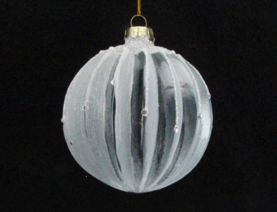 Glass Ball Ribbed Pale Blue/Clear