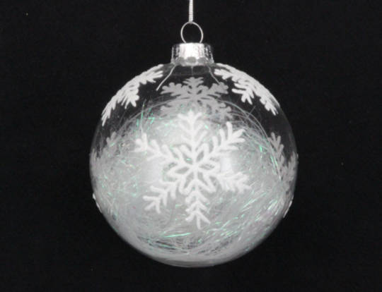 Glass Ball with Iridescent Threads Inside & Snowflake Pattern 8cm