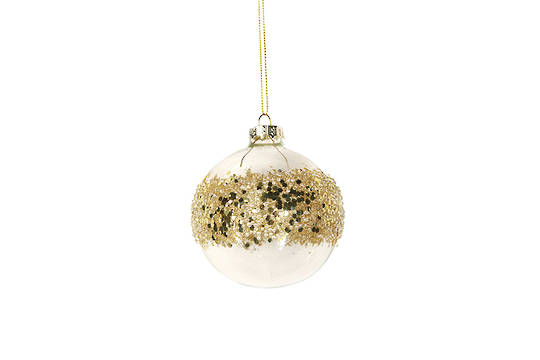 Hanging Glass Ball Clear, Gold Sequin Band