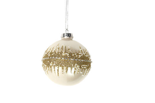Hanging Glass Ball Matt Cream with Gold Glitter