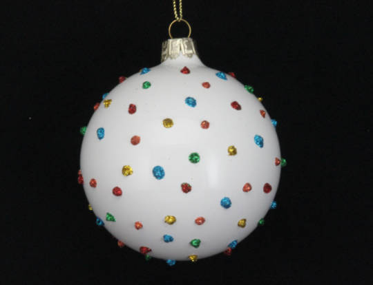 Hanging Glass Ball White w/Coloured Glitter Dots 8cm
