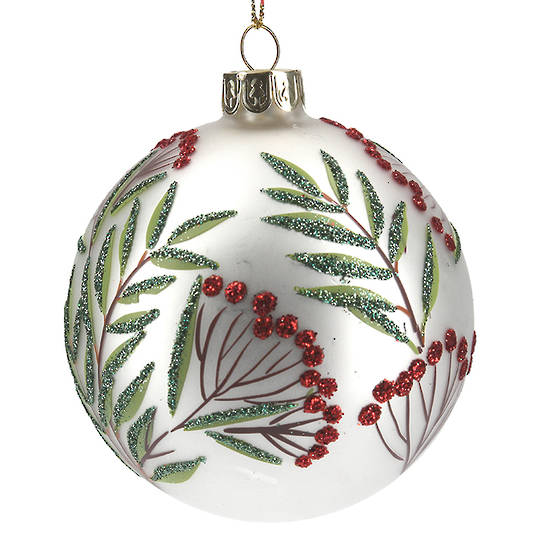 Glass Ball Matt White with Red Berries and Green Leaves 8cm