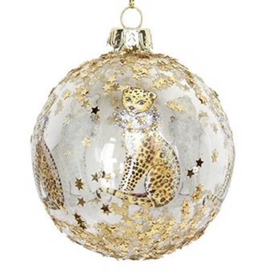 Hanging Glass Ball, Gold Leopard 8cm