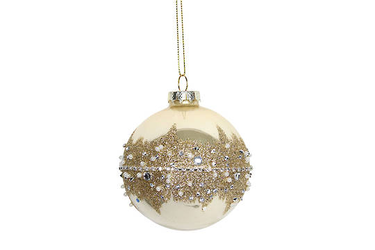 Hanging Glass Ball, Cream with Thick Gold Band
