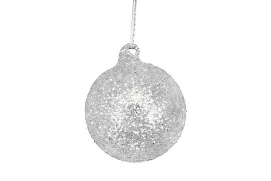 Glass Ball, Silver and White Glitter