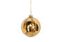 Glass Ball, Clear with Gold Leaf Stripes