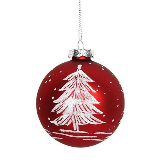 Hanging Glass Ball, Matt Red w/White Tree