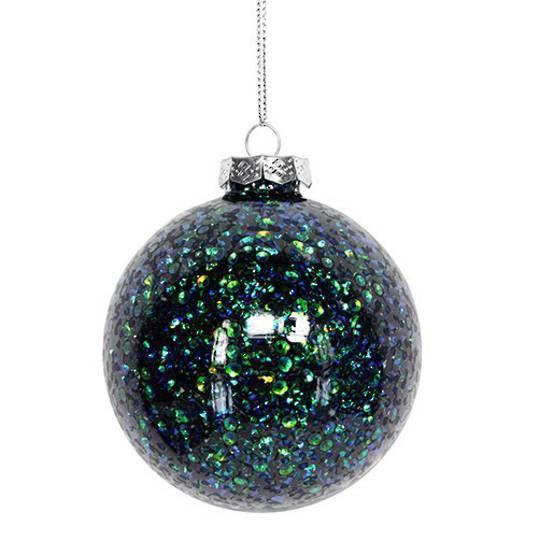 Hanging Glass Ball, Peacock Glitter Inside