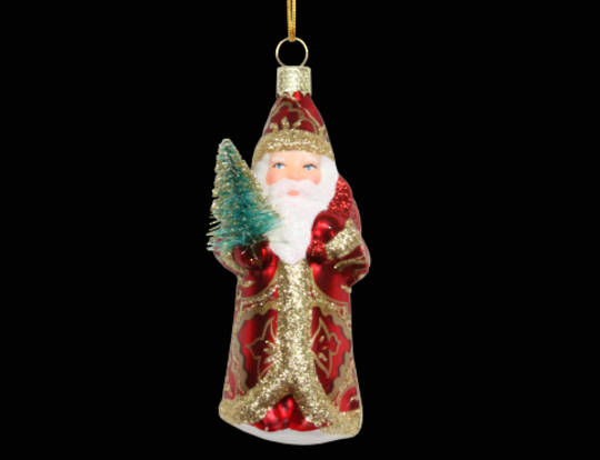 Glass Mini Vintage Santa with Tree