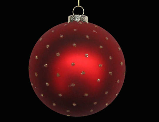 Glass Ball Matt Red w/ Gold Glitter Dots 8cm