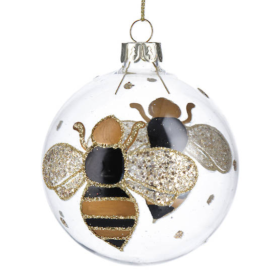 Glass Ball Clear with Bumble Bee 8cm