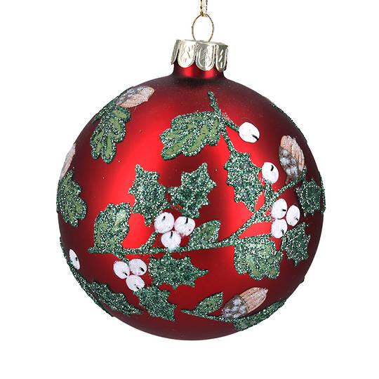 Glass Ball Matt Red With Acorn and Berries 8cm