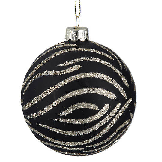 Glass Ball Matt Black with Zebra Print 8cm