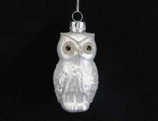 Glass Owl Matt Pearly white with Gold And Silver Glitter 9cm