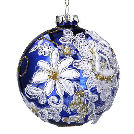 Glass Ball Glossy Blue with White Fabric Flowers 10cm