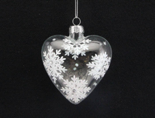 Glass Heart Clear w/ Glitter White Snowflakes 8cm