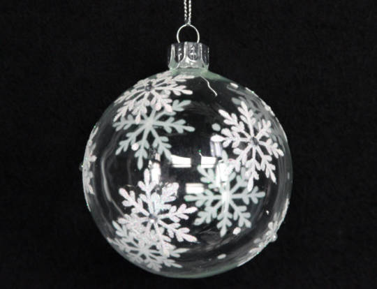 Glass Ball Clear with Iridescent Glitter Snowflakes