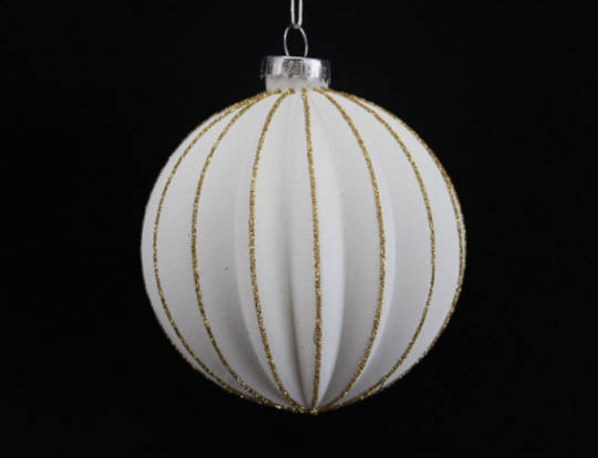 Glass Ball Ribbed Matt White w/ Gold Glitter
