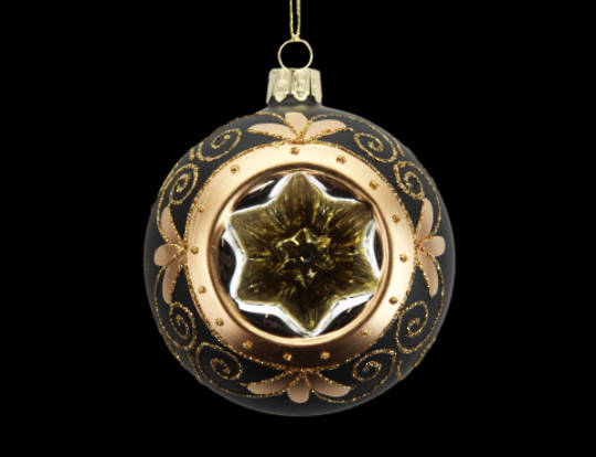Glass Ball Matt Black with Gold and star Dimple 8cm