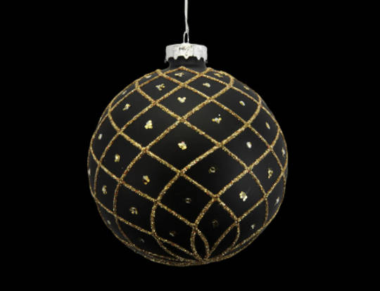 Glass Ball Matt Black with Gold Trellis 8cm