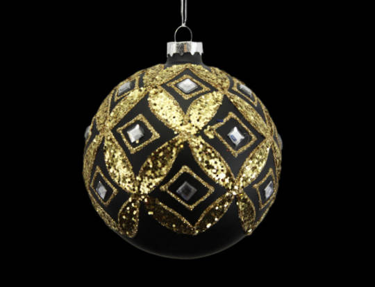 Glass Ball Matt Black with Gold Diamonds