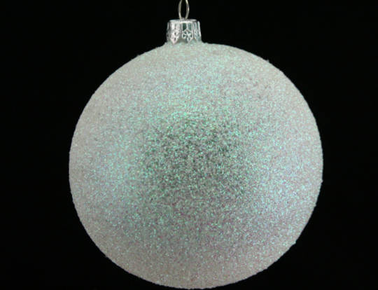 White Iridescent Glitter Ball 10cm