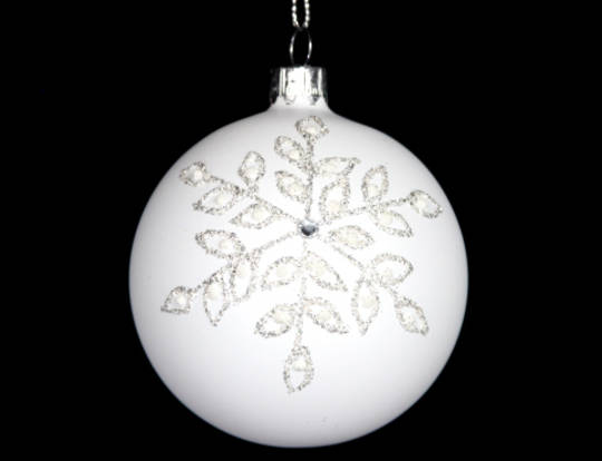 Glass Ball Matt White with Silver Glitter Snowflake