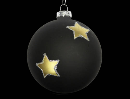 Glass Ball Matt Black with Gold Stars